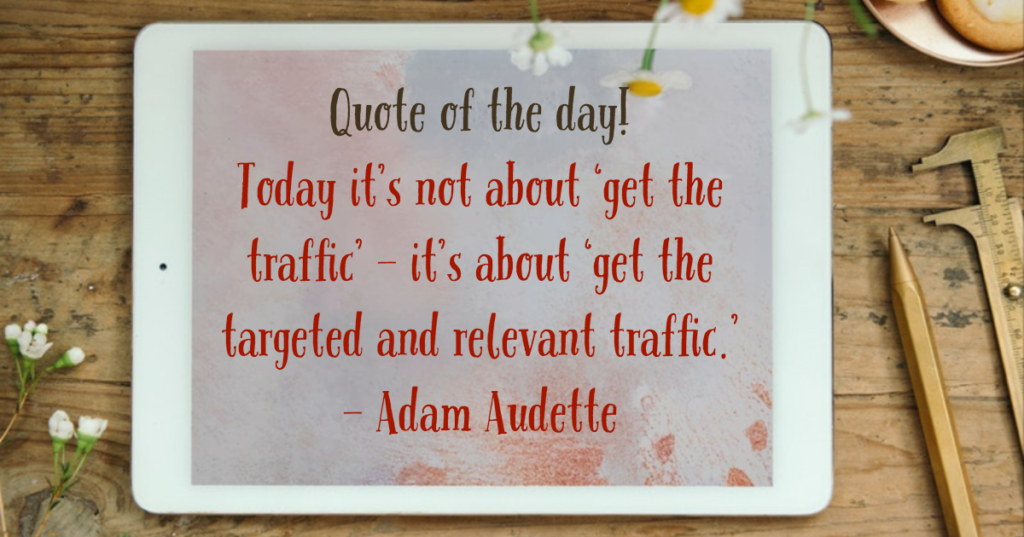 Quote of the day - Today it's not about 'get the traffic' - it's about 'get the targeted and relevant traffic'.